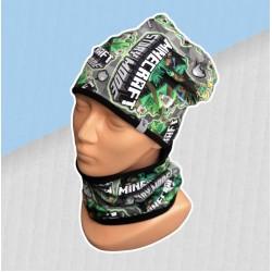 Prechodný sivo-zelený komplet Minecraft - čiapka s nákrčníkom