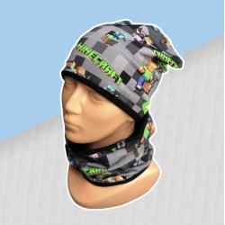 Prechodný sivý komplet Minecraft - čiapka s nákrčníkom