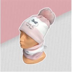 Zimný ružový komplet Minnie - čiapka s nákrčníkom