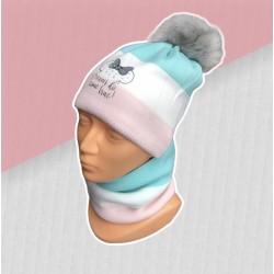 Zimný tyrkysový komplet Minnie - čiapka s nákrčníkom