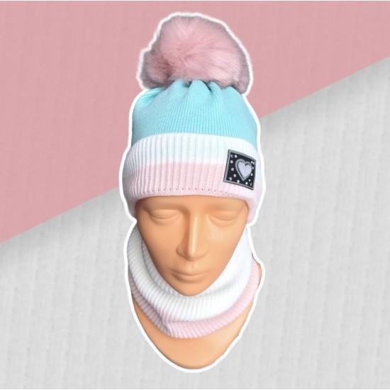 Zimný tyrkysový komplet so srdiečkom - čiapka s nákrčníkom
