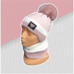 Zimný ružový komplet so srdiečkom - čiapka s nákrčníkom