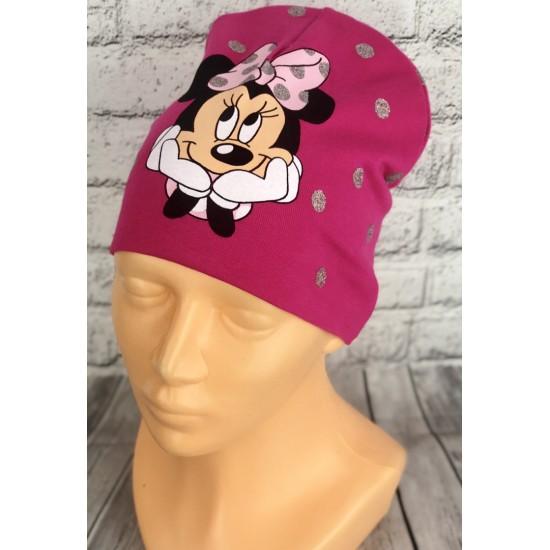 Cyklamenová nízka čiapka s Minnie
