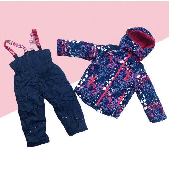 Dievčenská lyžiarska súprava modro-ružová