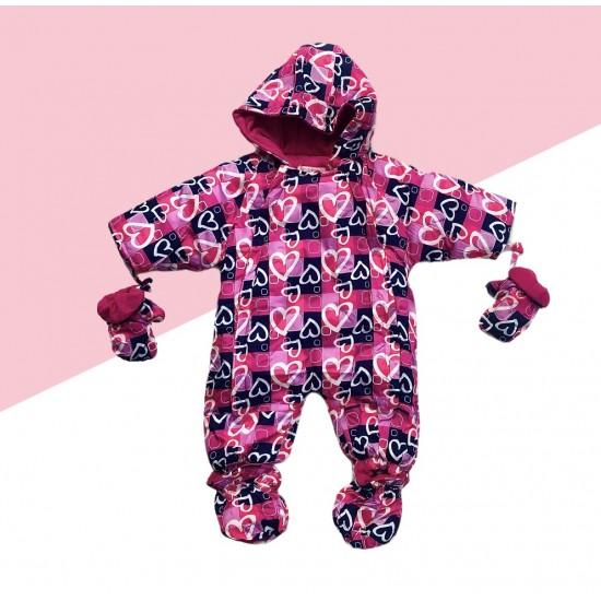 Dievčenský zimný overál so srdiečkami - ružový