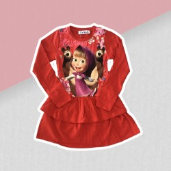 Dievčenské šaty Máša a medveď - červené
