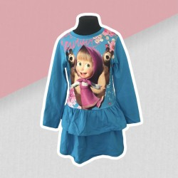 Dievčenské šaty Máša a medveď - modré