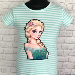 Tyrkysové pružkované tričko s frozen