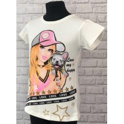 Biele dievčenské tričko s dievčaťom v šiltovke