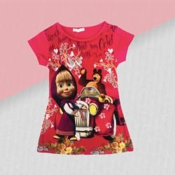 Dievčenské tričko Máša a medveď- ružové