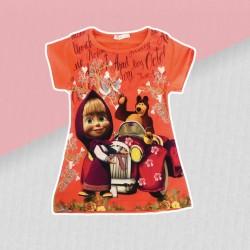Dievčenské tričko Máša a medveď- oranžové