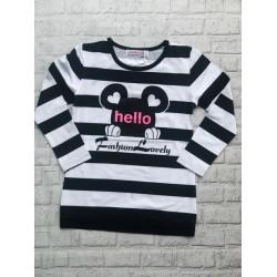 Pásikavé tričko Minnie čierne