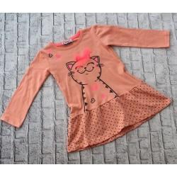 Marhuľové šaty s mačkou
